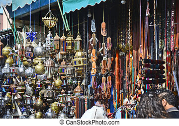 Morocco, Marrakesh - Morocco, different shops in the souk at...