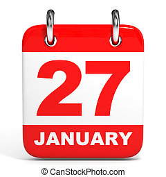 Calendar. 27 January. - Calendar on white background. 27...