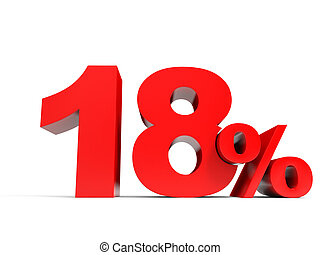 Red eighteen percent off Discount 18 3D illustration