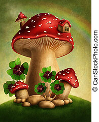 Magic mushrooms and four leaf clover