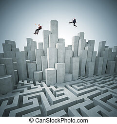 business challenge - abstract tower and maze 3d with...