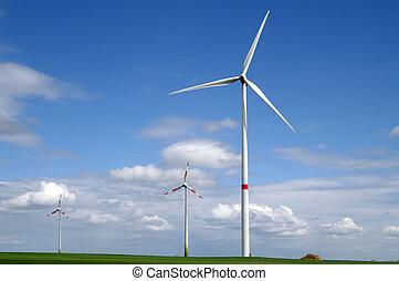 Wind generators in field