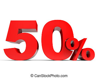Red fifty percent off. Discount 50%.