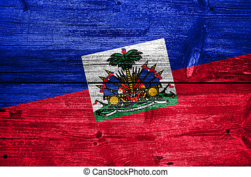 Haiti Flag painted on old wood plank texture