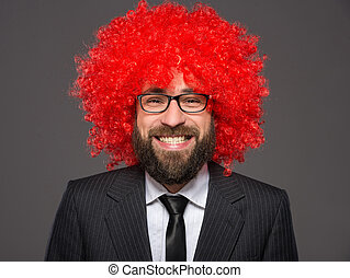 Bearded man - Portrait of bearded, smiling man in a suit and...