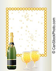 festive postal with a bottle and glasses of champagne,...