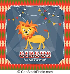 Vintage circus card with cute funny lion