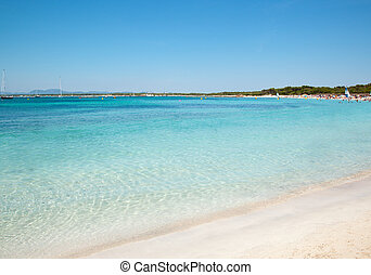 Platja des Trenc - Sand beach clear sea water, Es Trenc,...