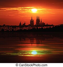 abstract background with silhouette of cologne and sunset -...