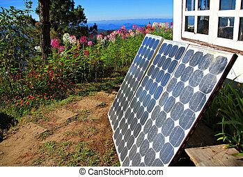 Solar panels on mountain.
