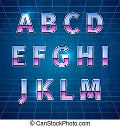 Retro Sci-Fi Font - 80s Retro Sci-Fi Font, beautiful vector...