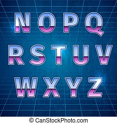 Retro Sci-Fi Font - 80s Retro Sci-Fi Font, beautiful vector...