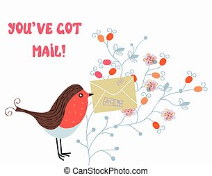 Funny card with bird and mail on flower pattern