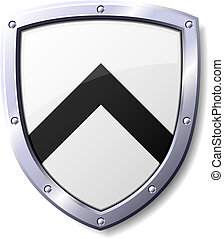 Black and White Shield - Glossy black and white shield...