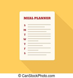 Flat Style Icon with Long Shadow. A meal planner. Concept...