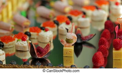 Original Snacks at Wedding Banquet for Guests - Two frames:...