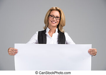 Beautiful business woman with white banner. Happy...