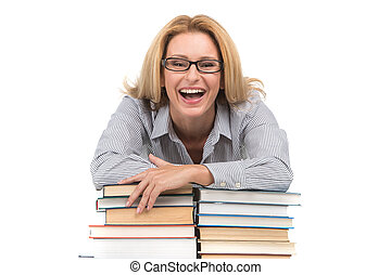Portrait of happy female advocate leaning on books teacher...