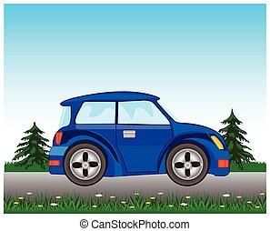 Blue car on road
