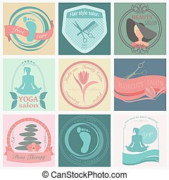 Set of vintage hairstyle logos - Set of vintage hairstyle,...