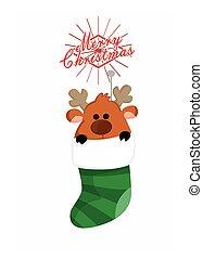 Cute reindeer in sock
