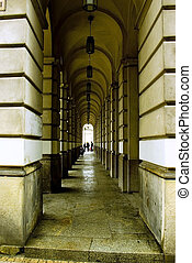 tunel - long line of pillars in rain