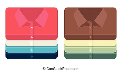 Vector set of folded shirts icons