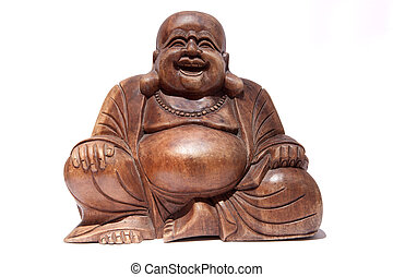 Smiling Buddha - Wooden fat Smiling Buddha isolated over...