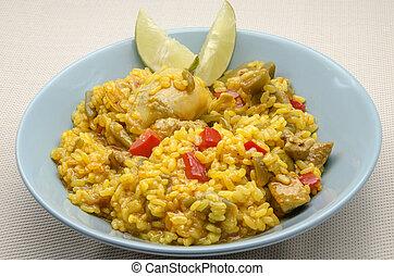 vegetales, arroz, carne