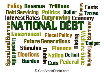 National Debt word cloud on white background