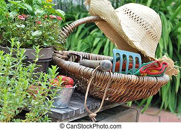 garden accessories - accessories for the garden in a basket...