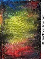 Collage Texture - Hand painted mixed media collage...