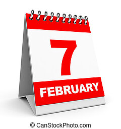 Calendar 7 February - Calendar on white background 7...