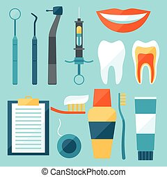 Medical dental equipment icons set in flat style