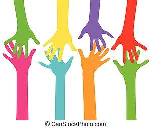 mãos, junto,