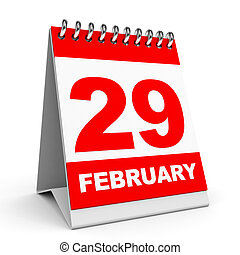Calendar. 29 February. - Calendar on white background. 29...