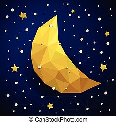 Vector triangle new moon, snow and the stars - Vector...