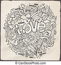 Love hand lettering and doodles elements sketch Vector...