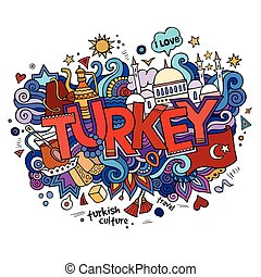 Turkey hand lettering and doodles elements background....