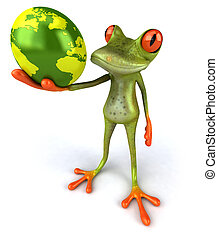 Fun frog with the world
