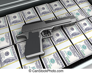 gun and money - 3d illustration of gun and money, crime...