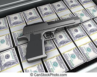 arma de fuego, y, dinero,