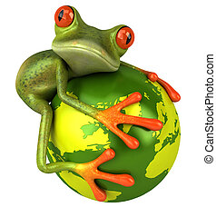 Frog protects the world - Frog with the world