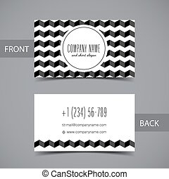 Business card front and back with abstract geometric...