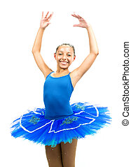 Beautiful ballet dancer with blue dress posing dance