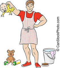 househusband is busy doing housework - vector illustration...
