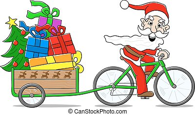 santa claus on bicycle delivering christmas gifts - vector...