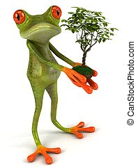 Fun frog with a green plant