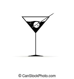 martini with olive vector illustration
