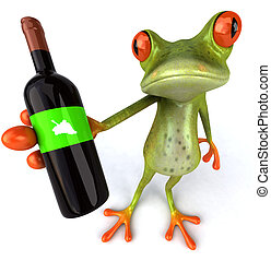 Fun frog with wine